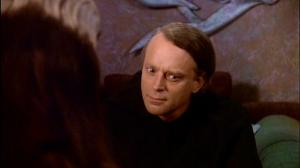 Someone explains to Brad Dourif what 'typecast' means.